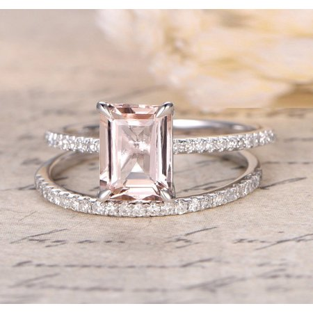 1.50 Carat Peach Pink Morganite (emerald cut Morganite) and Diamond Engagement Ring Wedding Bridal Set in 10k White Gold