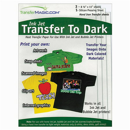 Transfer Magic Ink Jet Transfer Paper for Dark Fabric, 8-1/2u0022 x 11u0022, 3pc
