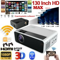 4K 1080p FHD LED Smart Home Theater Projector Android 6.0 Wifi 3D Video Movie (Black)