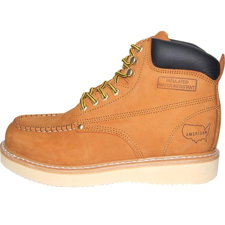 bd2af0b69ff Krazy American Leather 6 Inch Light Weight Construction Moc Toe Men's Work  Boots | Insulated | Wheat