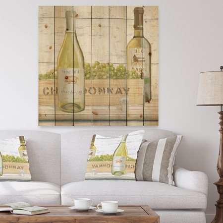 DESIGN ART Designart 'White Chardonnay Wine Bottles' Food and Beverage Print on Natural Pine Wood - Grey](Mini Wine Bottle)