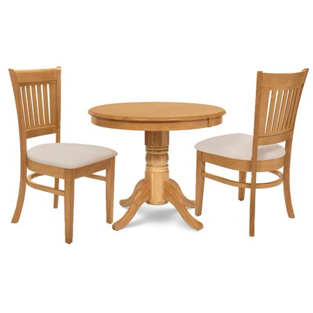 3-Pc Round Small Kitchen Table Set in Oak Finish