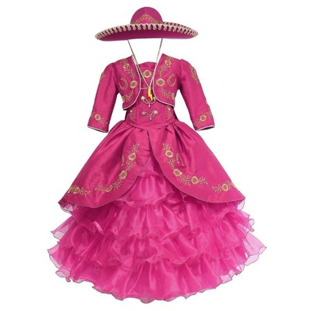 Girls Fuchsia Gold Ruffles Embroidery Bolero Hat Mariachi Dress](Mariachi Dress)