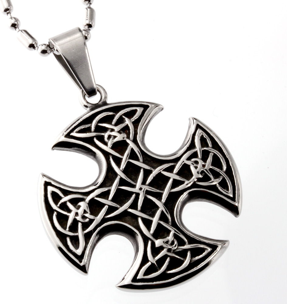 R.H. Jewelry Stainless Steel Celtic-Knots Cross Pendant Necklace