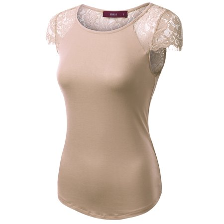 Lace Shift - Doublju Womens Round Neck Cap Sleeve Semi-Sheer Floral Lace Top