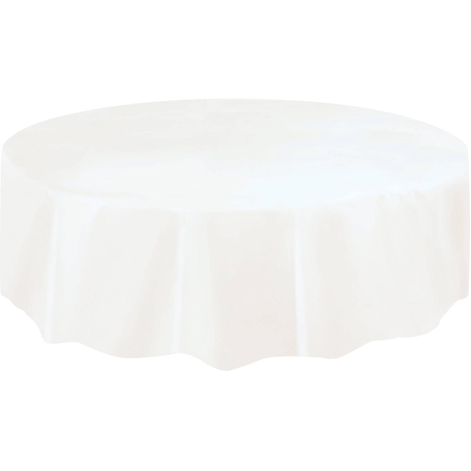 White Plastic Party Tablecloth, Round, 84in