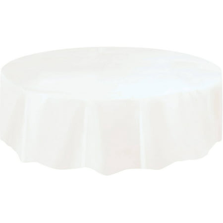 Cow Print Plastic Tablecloth (White Plastic Party Tablecloth, Round,)