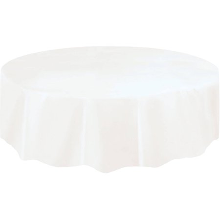 Gold Octagon Plastic Plates - White Plastic Party Tablecloth, Round, 84in