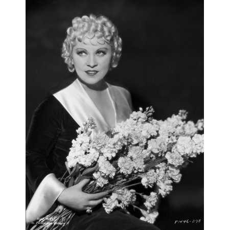 Mae West Holding a Flower in Black Dress Portrait Photo Print