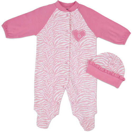 Gerber Newborn Baby Girl Sleep n Play and Hat Set, 2-Piece