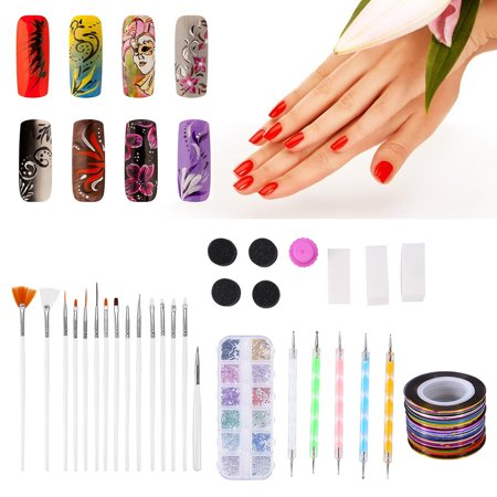 Vbestlife Triangle Nail Sponge Art Tools Kit Decoration Rhinestone Brush Dotting Pen