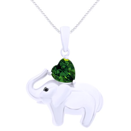 - Valentine's Day Elephant Pendant Necklace Heart Shaped Simulated Green Emerald CZ 14K White Gold Over Sterling Silver
