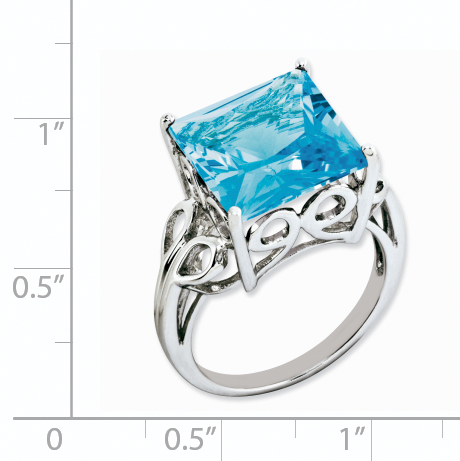 925 Sterling Silver Rhodium Blue Topaz Ring - image 1 of 2
