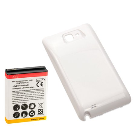 5000mAh Extended Battery with White Battery Cover Door for Samsung Galaxy Note 1