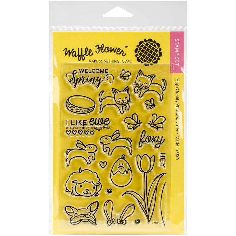 "Waffle Flower Crafts Clear Stamps, 4"" x 6"", Welcome Spring"