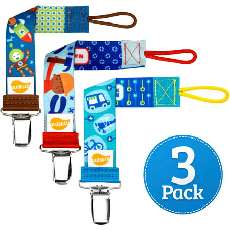 Ulubulu Boy Tools and Travel Combo Pacifier Clip, 3-Pack