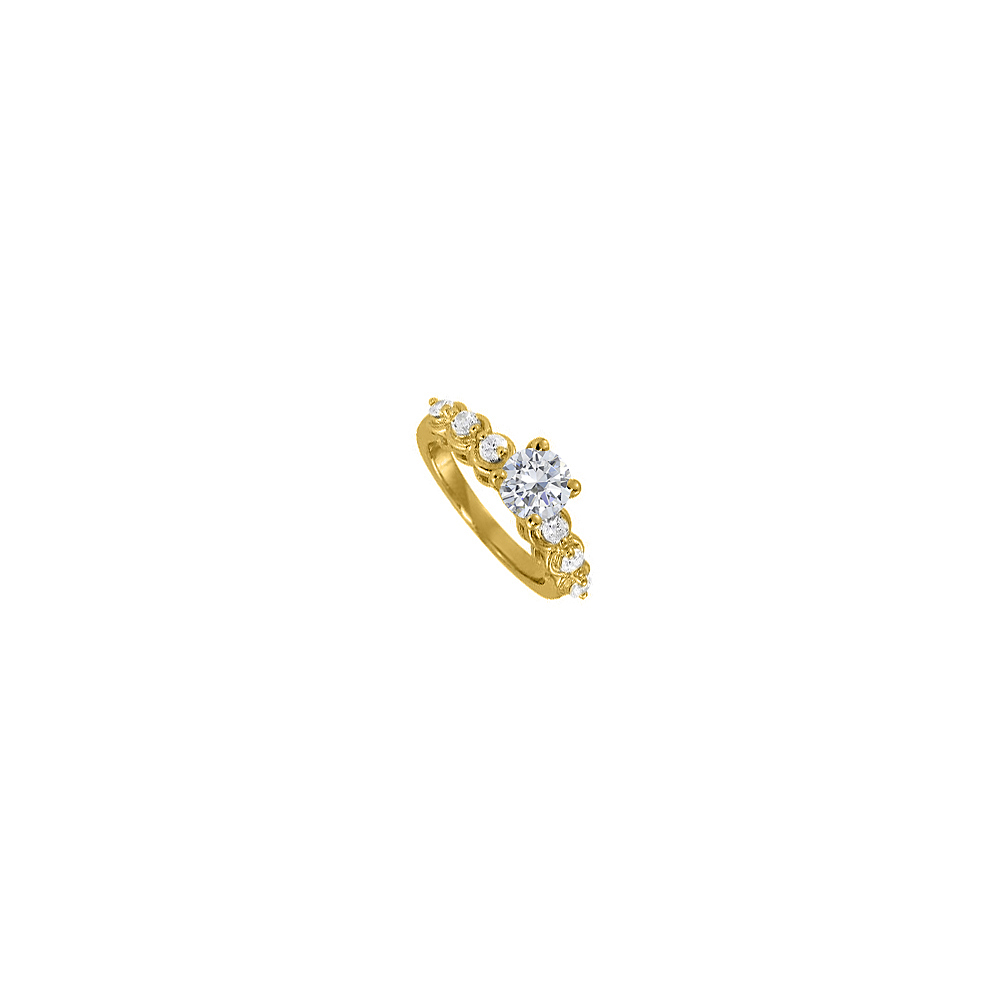 Cubic Zirconia Solitaire Engagement Ring in Yellow Gold - image 2 of 2