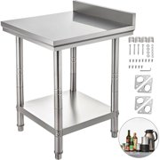"VEVOR 24"" x 24"" Stainless Steel Work Table with Backsplash Food Prep Worktable with Adjustable Feet for Restaurant, Home and Hotel"