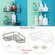 Bathroom Shelf (No Drilling) Durable Aluminum 1/2 Tiers Shower Shelf Kitchen Storage Basket Adhesive Suction Corner Shelves Shower Caddy Black 1pc