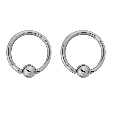 Flat Ring Cbr - Pair of 2 Rings: 14g 7/16 Inch Titanium Captive Bead Hoop CBR Rings, 4mm Balls