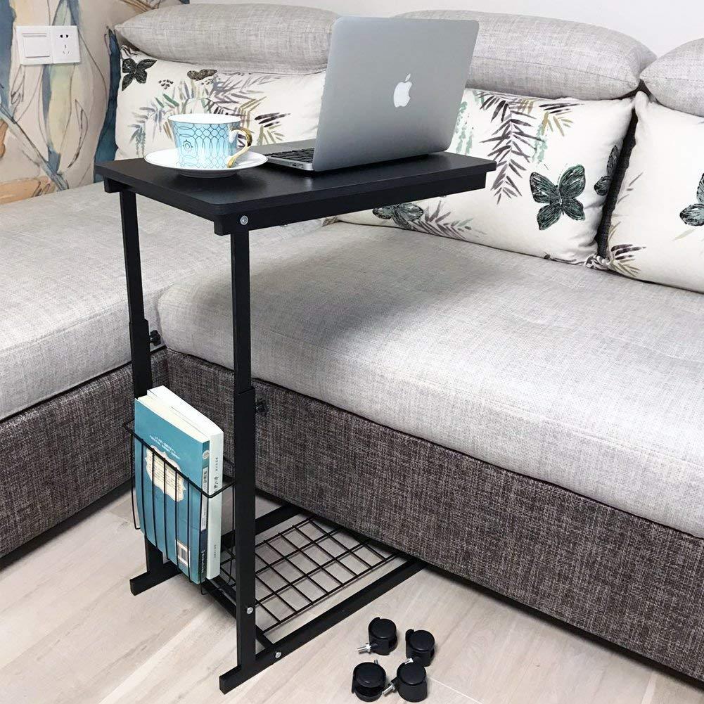 Height Adjustable With Wheels Sofa Side Table Slide Under Adjustable