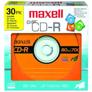 Maxell Designer 700MB CD-R Recordable Media Color Discs - 30 Pack Paper Sleeve