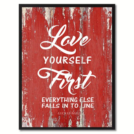 Love Yourself First Everything Else Falls Into Line - Lucille Ball Inspirational Quote Saying Canvas Print Picture Frame Home Decor Wall Art Gift Ideas - Halloween Sayings For Teacher Gifts