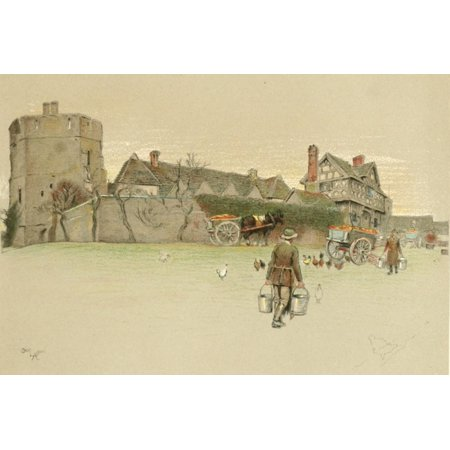 Old Manor Houses 1920 Stokesay Castle Shropshire 1 Canvas Art - Cecil Aldin (18 x 24)