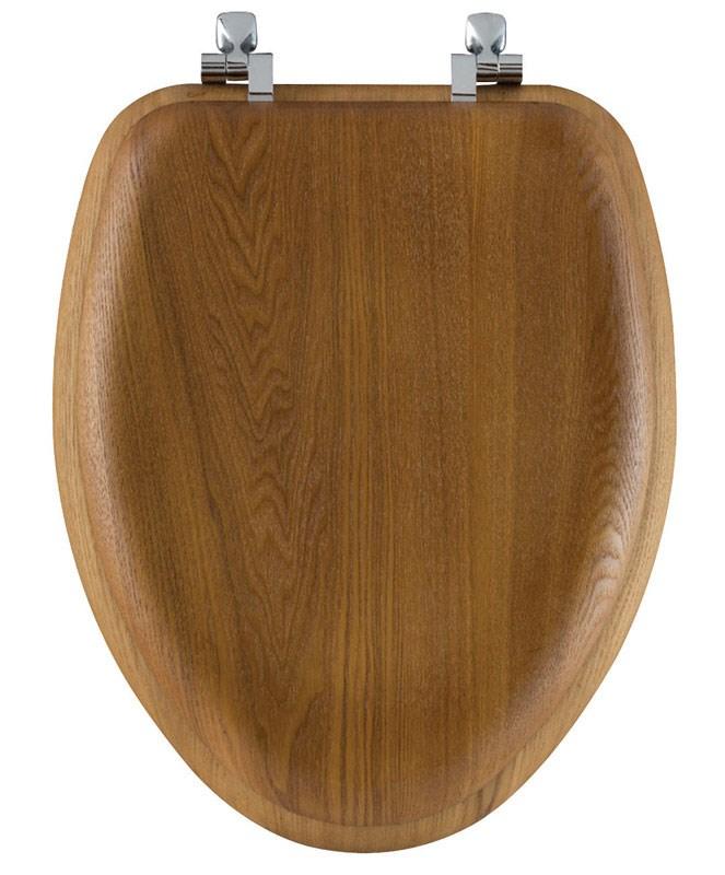 Bemis Elongated Toilet Seat Elongated Oak Chrome Hinges