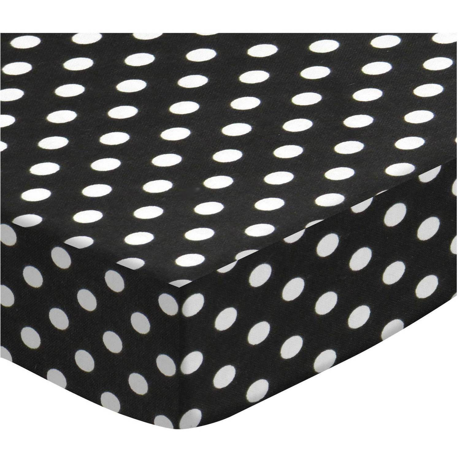 SheetWorld Fitted Oval (Stokke Mini) - Primary Polka Dots Black Woven
