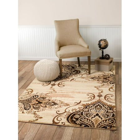 (#031) Scatter Mat Rug, Damask Brown, Beige, Cream Area Rug - Summit Collection | Rug and Decor Inc. ()
