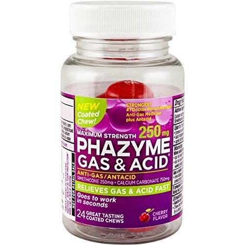 6 Pack Phazyme Gas+ Acid Maximum Strength, 250 mg, Cherry, 24 Coated Chews Each