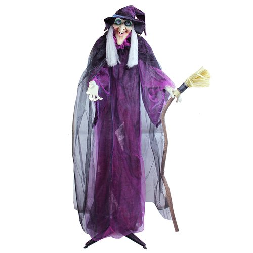 Northlight Seasonal Touch Activated Lighted Standing Witch and Broomstick Animated Halloween Decoration with Sound