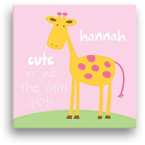 "Sandra Magsamen Personalized Giraffe Canvas Wall Art, 16"" x 16"", Pink"