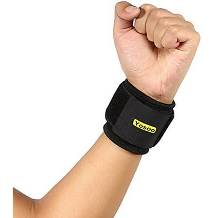 Elastic Compression Support - Yosoo Athletic Wrist Support Gym Breathable Neoprene Elastic Wrist Brace Strap Compression Pad , Black