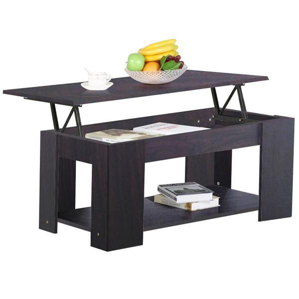 Modern Lift-up Top Tea Coffee Table w/Hidden Storage Compartment & Shelf Espresso