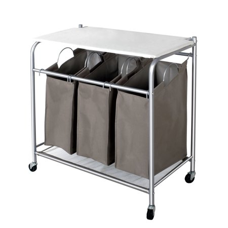 Storagemaniac Laundry Sorter With Ironing Board Hamper 3 Removeable Bags