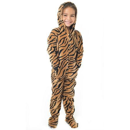 Footed Pajamas - Tiger Stripes Infant Hoodie Fleece - Tigger Onesie