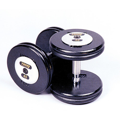 Troy Barbell 42.5 lbs Pro-Style Cast Dumbbells in Black (Set of 2)