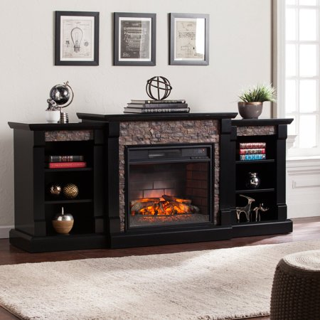 Southern Enterprises Gallatin Infrared Electric Fireplace with Bookcase