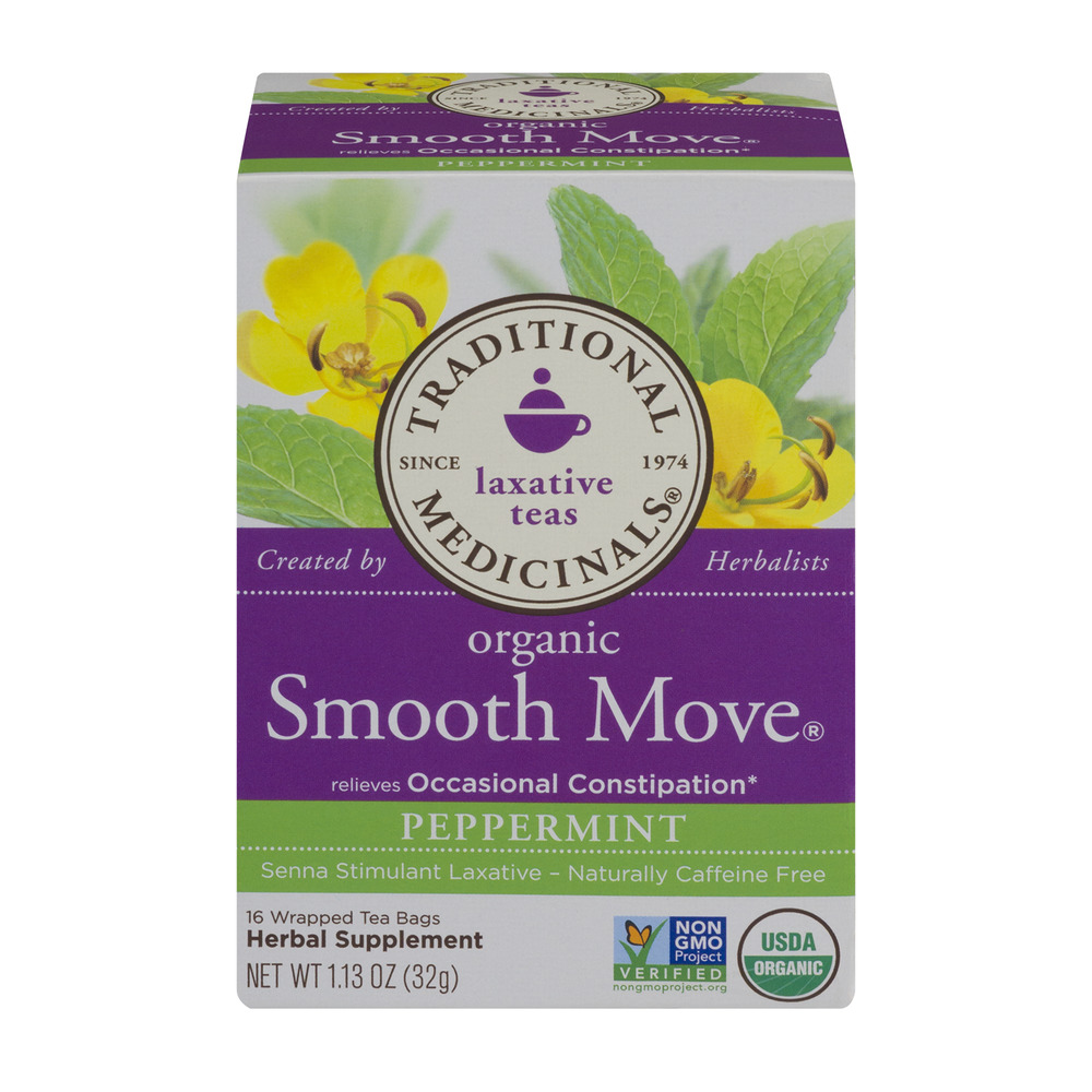 Traditional Medicinals Laxative Teas Organic Smooth Move Peppermint Tea Bags - 16 CT