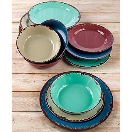 12-Pc. Rustic Melamine Dinnerware Set, Made of lightweight melamine material that is shatterproof with a rustic lookNot suitable for heavy use12.., By The Lakeside Collection ()
