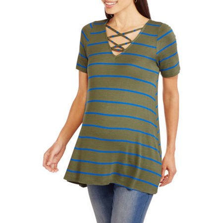 Inspire Maternity Short Sleeve Yarn-Dye Stripe Swing Tee with Lace-Up V-neck Knit
