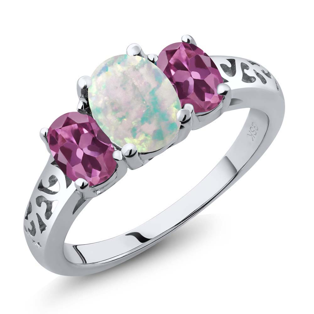 2.05 Ct Oval Cabochon White Simulated Opal Pink Tourmaline 14K White Gold Ring by