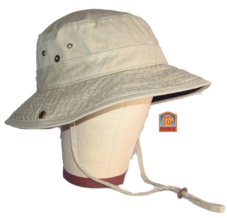 Dorfman Pacific Outdoor Khaki & Black Garment Washed Twill Bucket Hat Large