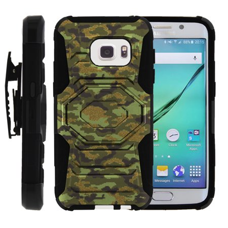 Galaxy S7-Edge Case   S7-Edge Holster Case [ Armor Reloaded ] Heavy Duty Rugged Phone Protector with Holster and Kickstand - Green Digital (Mitel Superset 4025 Digital Phone Dark Charcoal Gray)