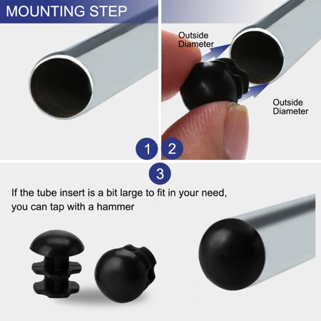 10mm OD Plastic Round End Tube Insert Cover Furniture Desk Feet Protector 5pcs - image 4 de 7