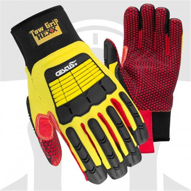 Cestus 3104 2XL Tow Grip Hexx Long Cuff Cotton Palm Impact One Pair Glove, Yellow - 2 Extra Large
