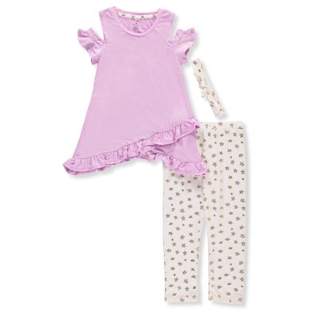 Hobo Outfit (Cold Shoulder Asymmetrical Tunic And Legging, 2-Piece Outfit Set With Headband (Little Girls & Big)