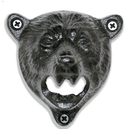 Mounted Bottle Opener - Grizzly Bear Wall Mounted Bottle Opener - Indie Craft Supply